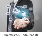 globe  earth in human hand ... | Shutterstock . vector #686326558