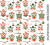 cute christmas and winter... | Shutterstock .eps vector #686326600