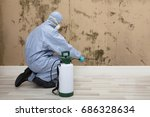 rear view of a pest control... | Shutterstock . vector #686328634
