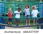 a diverse group of children are ... | Shutterstock . vector #686337559