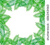 frame of tropical leaves.... | Shutterstock .eps vector #686343460
