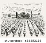 vineyard and winery. vector... | Shutterstock .eps vector #686353198
