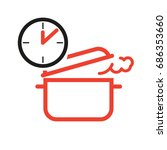 pan and clock for cooking | Shutterstock .eps vector #686353660