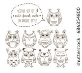 cute forest owls vector