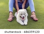happy woman playing in the park ... | Shutterstock . vector #686359120