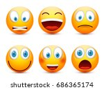 smiley with blue eyes emoticon... | Shutterstock .eps vector #686365174