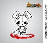 halloween evil bunny rabbit...   Shutterstock .eps vector #686366899