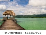 a wooden jetty at pet n itz ... | Shutterstock . vector #686367973