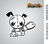 halloween evil dog blood saw... | Shutterstock .eps vector #686368336