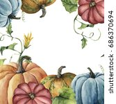 watercolor autumn card with...   Shutterstock . vector #686370694
