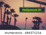 a hollywood blvd sign at sunset ... | Shutterstock . vector #686371216