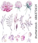 handpainted watercolor flowers... | Shutterstock . vector #686372614