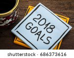 2018 goals   handwriting in... | Shutterstock . vector #686373616