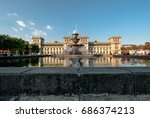 fountain in  plaza of the... | Shutterstock . vector #686374213