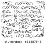 set  retro calligraphic... | Shutterstock .eps vector #686387548