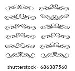 set  retro calligraphic... | Shutterstock .eps vector #686387560