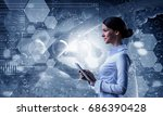 her biochemistry research and... | Shutterstock . vector #686390428