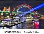 sydney harbour bridge brightly... | Shutterstock . vector #686397163