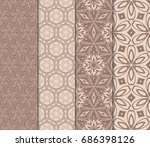 set of fashion floral pattern... | Shutterstock .eps vector #686398126
