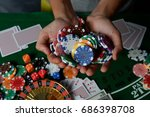the casino has dice  chips ... | Shutterstock . vector #686398708