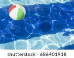 beach ball floating in swimming ... | Shutterstock . vector #686401918