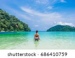 backside woman in bikini... | Shutterstock . vector #686410759