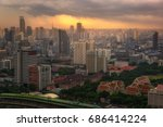 cityscape and sunset at evening ... | Shutterstock . vector #686414224