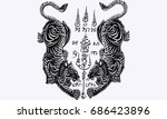 thai traditional tattoo  tiger... | Shutterstock .eps vector #686423896