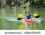 two diverse little boys... | Shutterstock . vector #686435440