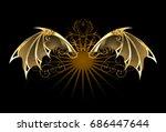 steampunk mechanical dragon...   Shutterstock .eps vector #686447644