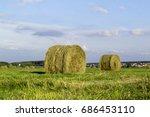 stack hay on summer field   Shutterstock . vector #686453110