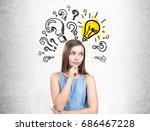 pensive teen girl wearing a... | Shutterstock . vector #686467228