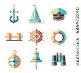 sea walks on the yacht. the...   Shutterstock .eps vector #686473240