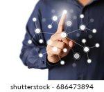 hand pressing modern social... | Shutterstock . vector #686473894