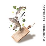 flying raw whole trout fishes... | Shutterstock . vector #686481610