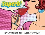 super reaction. woman drinking... | Shutterstock .eps vector #686499424