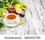 cup of herbal tea with linden... | Shutterstock . vector #686502700