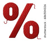 percent symbol of knitted... | Shutterstock . vector #686504326