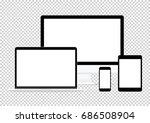 modern computer electronic flat ... | Shutterstock .eps vector #686508904