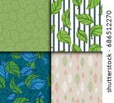 seamless pattern with leaves... | Shutterstock .eps vector #686512270