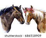 Stock photo watercolor horses with flowers cute horses with love 686518909