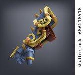 iron fantasy armor hand glove... | Shutterstock .eps vector #686518918