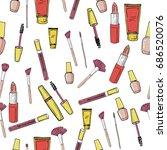 glamorous make up seamless...   Shutterstock .eps vector #686520076