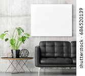 poster with black sofa and... | Shutterstock . vector #686520139
