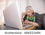 senior business woman shocked... | Shutterstock . vector #686521684