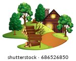 Log Cabin With Many Trees...