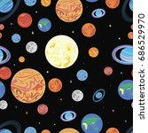 pattern  planets of the solar... | Shutterstock . vector #686529970