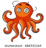 octopus with dizzy face... | Shutterstock .eps vector #686531164