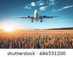 amazing airplane. landscape... | Shutterstock . vector #686531200