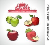 apple. hand drawn collection of ... | Shutterstock .eps vector #686537560
